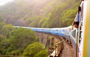 KTM train passing a beautiful green landscape