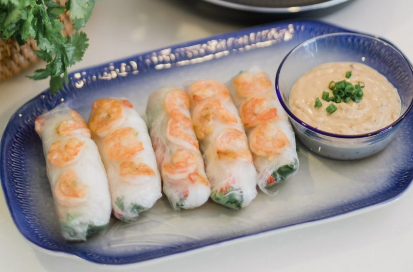 Vietnamese Spring Rolls with Pan Seared Prawns