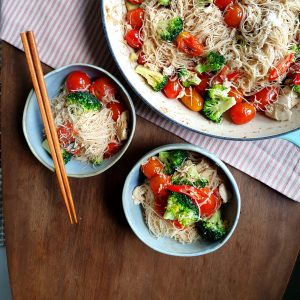 Tomato Tofu and Asian Noodle Pasta