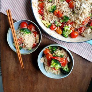 Tomato Tofu and Asian Noodle Pasta